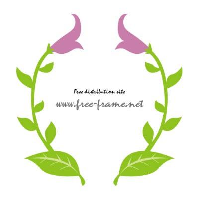 花のイラストを使った左右対称フレーム枠 無料商用可能枠