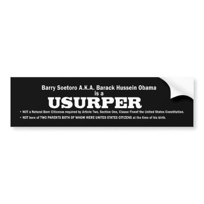 USURPER - OBAMA Bumper sticker by politicallyOFF