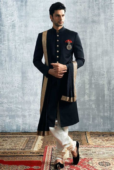 Manyavar Royal Black Sherwani   Nikhil   Indian groom