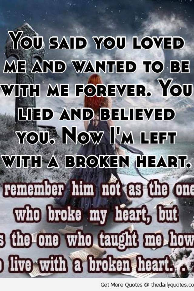 You Said You Loved Me And Wanted To Be With Me Forever You Lied And