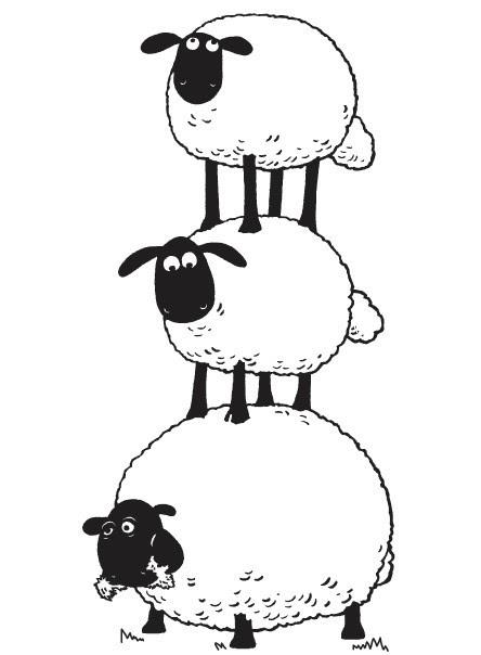 Coloriage Shaun Le Mouton Pyramide De Moutons 8