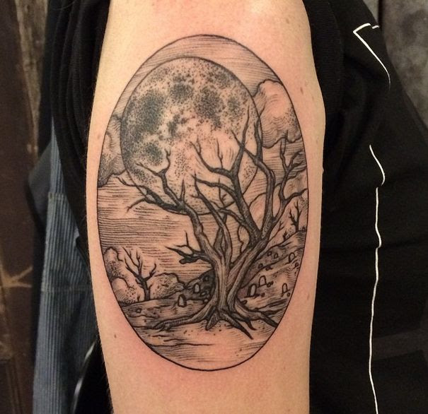 Tree And Moon Tattoo By Rachel Hauer Tattoomagz