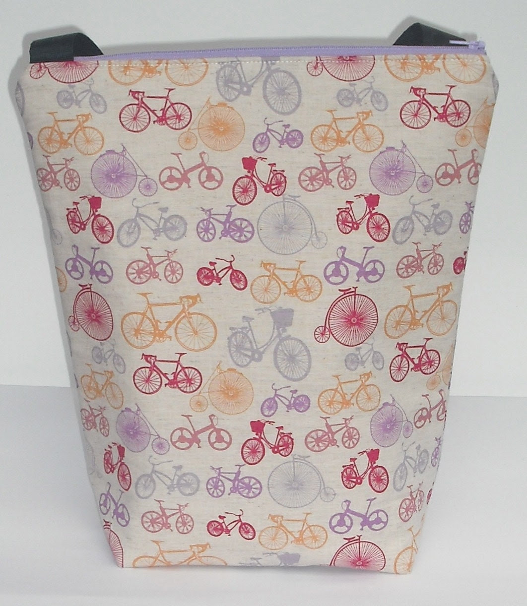 Insulated  Lunch Bag Tote - Zip Eco Friendly Summer Bike Rides BonTonsGifts on Etsy