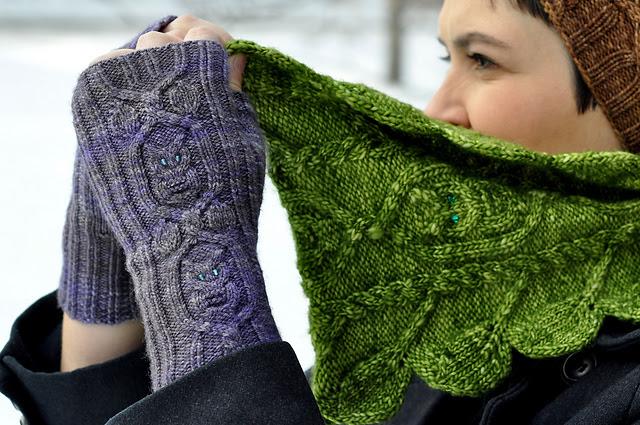 gants hiboux tricoté