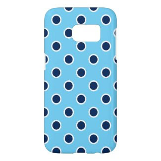 Navy Polka Dots on Sky Blue Samsung Galaxy S7 Case
