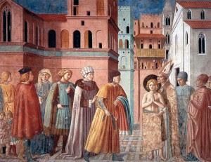 """Quadro do conhecido episódio em que o pai de Francisco apela ao bispo para fazer cessar as """"extravagâncias"""" do filho, que se apressa a despojar-se até da própria roupa do corpo para reparar a ganância do pai."""