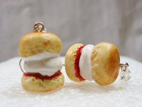 Cream Tea Scone Earrings. Polymer Clay.