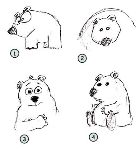 How to draw a cartoon polar bear step 4