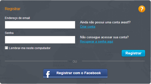 login da conta do avast