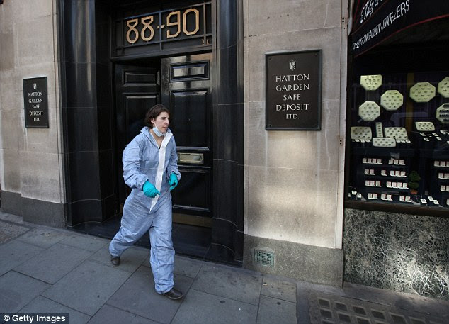 A forensic scenes of crime officers pictured outside the firm in London's top jewellery district