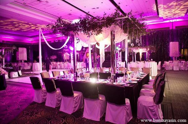 Indian Wedding Reception Decor Purple White Photo 11656