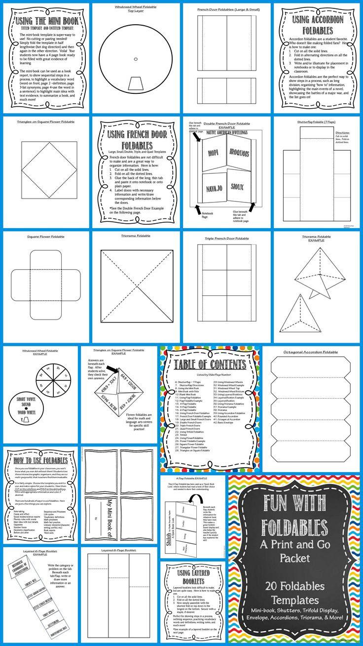 Foldable Fun! 20 EDITABLE Templates: Mini-book, Flaps, Accordions ...