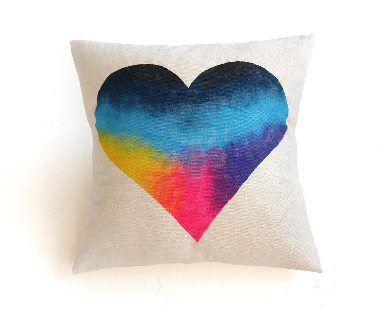 "The Original ""Splash Dyed"" Heart Natural Cotton Duck Wooden Button Envelope 14"" Throw Pillow Cover in White Spectrum Rainbow - twostringjane"
