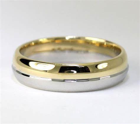 Mens platinum 18K yellow gold wedding band ring 11.6 grams