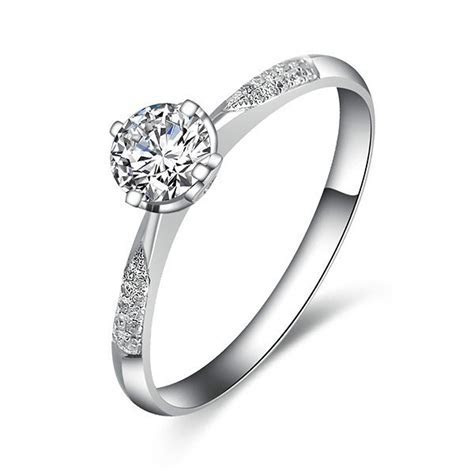 Elegant Diamond Ring 0.50 Carat Round Cut Diamond on White