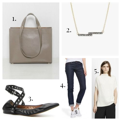 Haerfest Handbag - Nimma Necklace - Valentino Flats - Mott and Bow Jeans - Vince Sweater