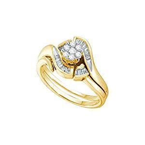 Amazon.com: 14k Yellow Gold Round Diamond Cluster Womens