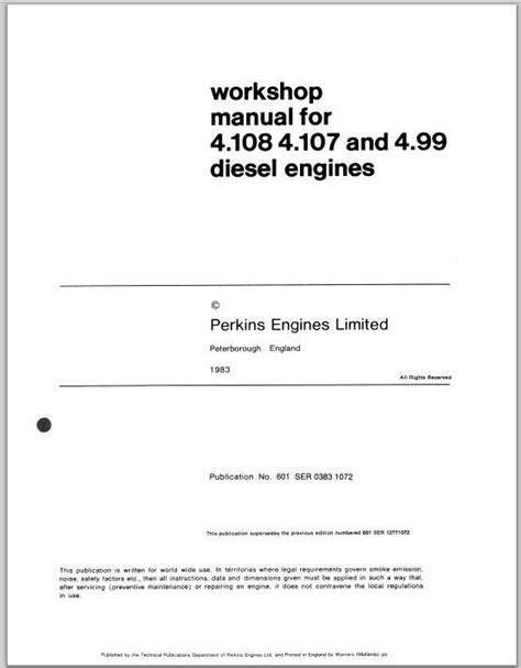 Perkins 4.154 Diesel Engine Workshop Service & Parts