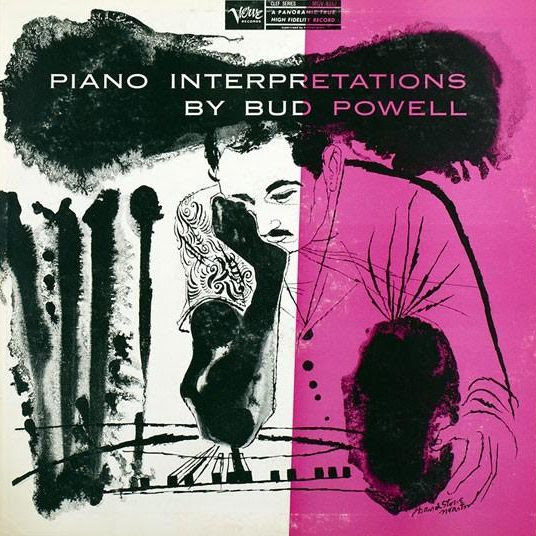 David Stone Martin's lovely artwork adorns the cover of Bud Powell's album Piano Interpretations. The 1956 album features George Duvivier on bass and Art Taylor on drums.