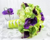 Green & Purple Wedding Bridal Bouquet, Roses, Hydrangeas, Phalaenopsis Orchids and Calla Lilies Bridal Bouquet, Bride's Bouquet - GlamFloral