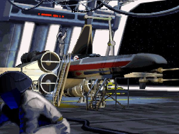 You'll see this cut-scene countless of times if you repeatedly play Tour of Duty 1, Mission 1 to increase your rank in the STAR WARS: X-WING video game.
