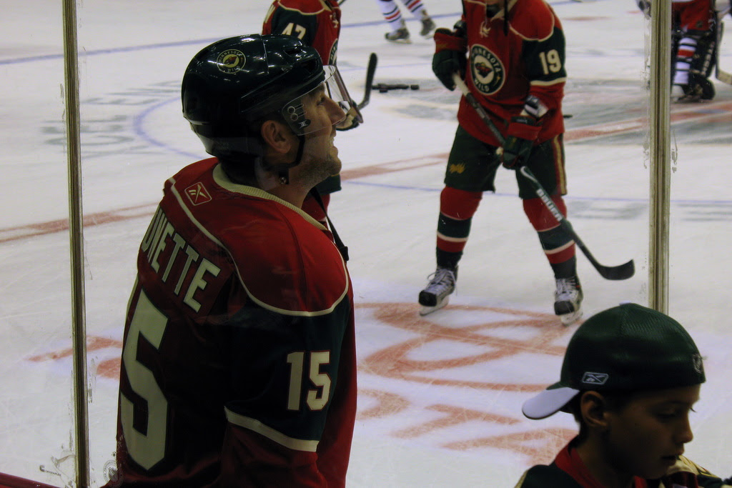 Returning to the team is number 15, Andrew Brunette. He signed as a free agent with the Colorado Avalanche after the 2004 season completed, but has returned to the Wild after signing a three year deal.