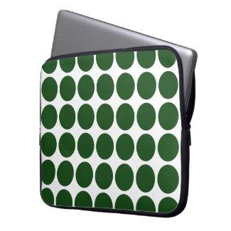 Green Polka Dots on White Laptop Sleeve