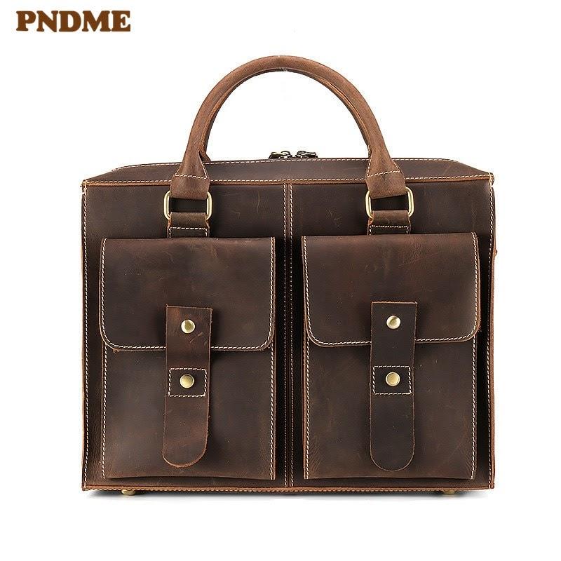 NEW PNDME high quality men's genuine leather briefcase retro simple laptop bag casual business diagonal bag office cowhide handbag