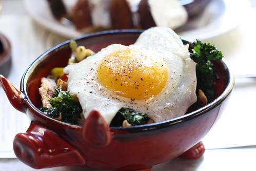 Pig's Ear with Crispy Kale, Pickled Cherry Peppers and a Fried Egg