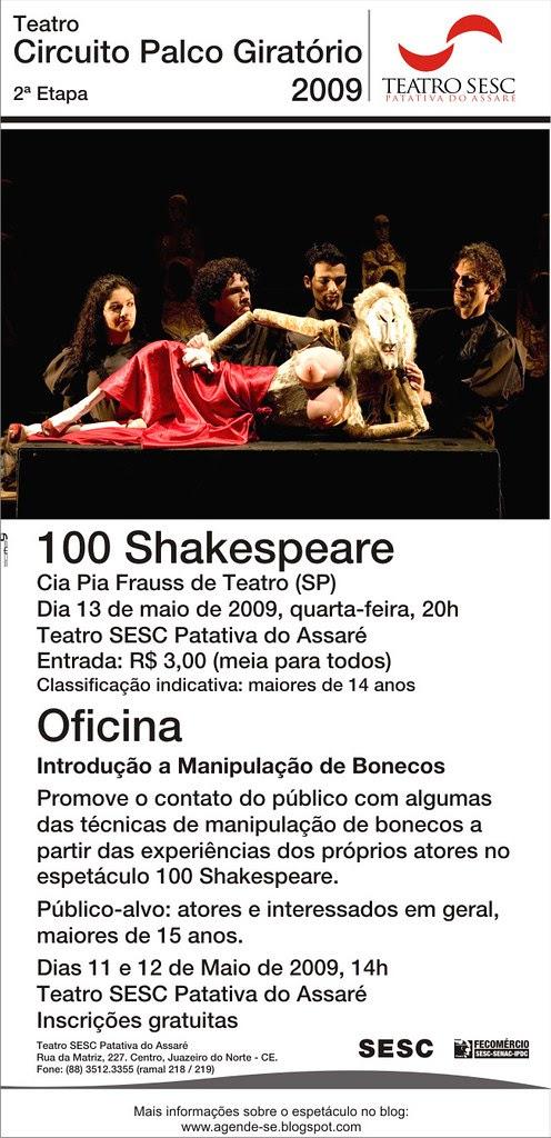 Convite eletrônico Espetáculo+Oficina 100 Shakespeare