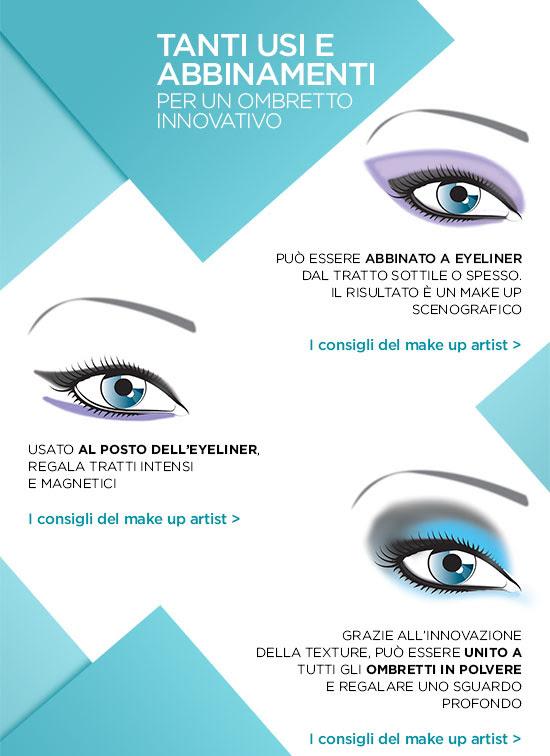 Tanti usi e abbinamenti per un ombretto innovativo - I consigli del make up artist
