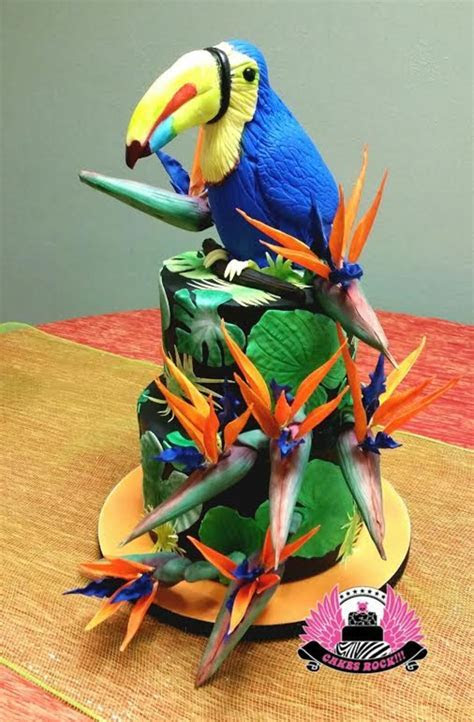 Toucan And Birds Of Paradise Tropical Cake   CakeCentral.com