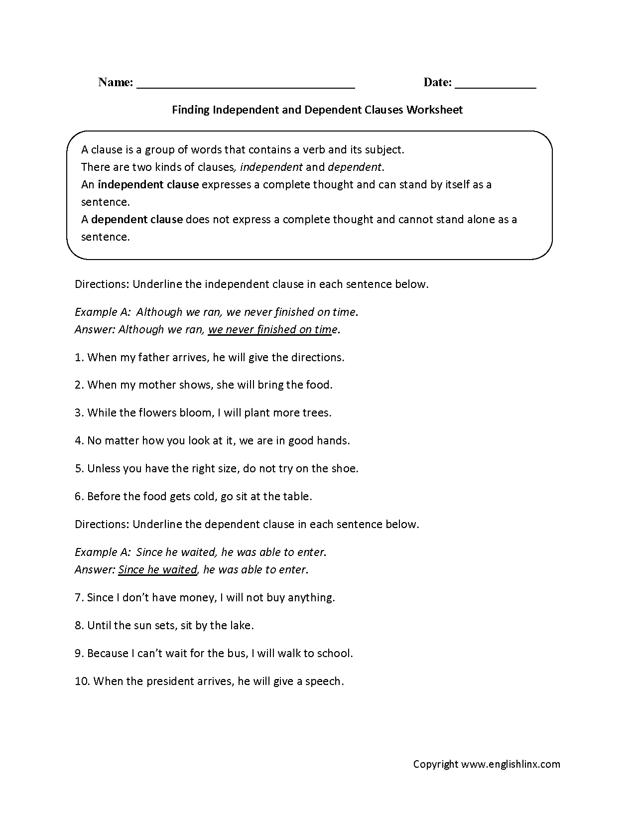 Englishlinx.com  Clauses Worksheets
