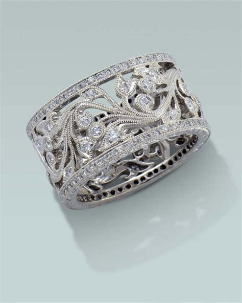 Wide filagree diamond ring.   Engagement Rings Fine
