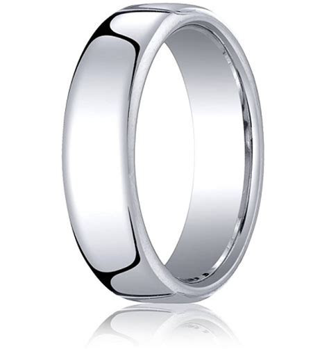 Comfort fit 18K White Gold Wedding Band   6.5 mm Euro fit