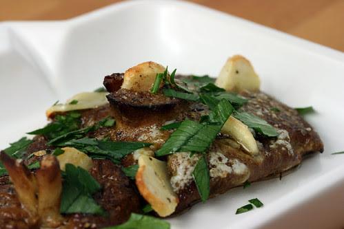 Garlic studded roasted mushrooms