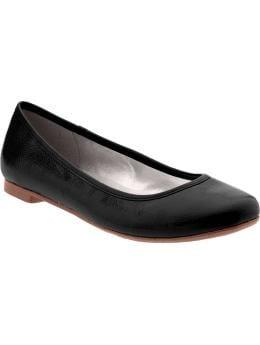 Women: Women's Faux-Patent Ballet Flats - Black