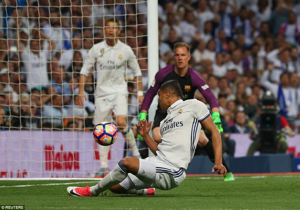 Casemiro was a very unlikely scorer for Real Madrid after he was the right man in the right place to stroke home the opener