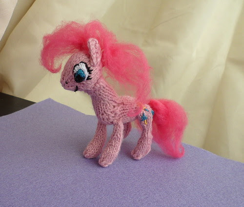 Tiny knitted Pinkie Pie toy standing plushie knitting pattern My Little Pony FiM