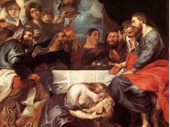 Maria cosparge d'olio i piedi di Gesù, nel dipinto di Rubens «Cristo nella casa di Simone il fariseo», 1618
