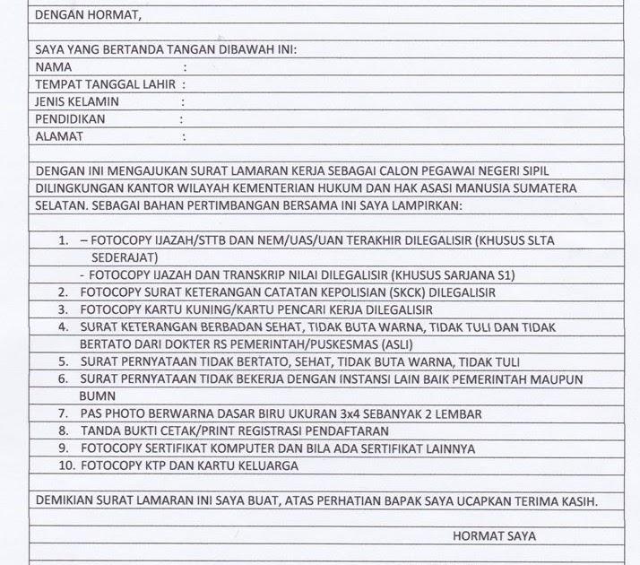 Surat Lamaran Cpns Untuk Kementerian Pendidikan Dan ...