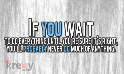 Quotes About Life If You Wait To Do Everything Until Yo Krexy