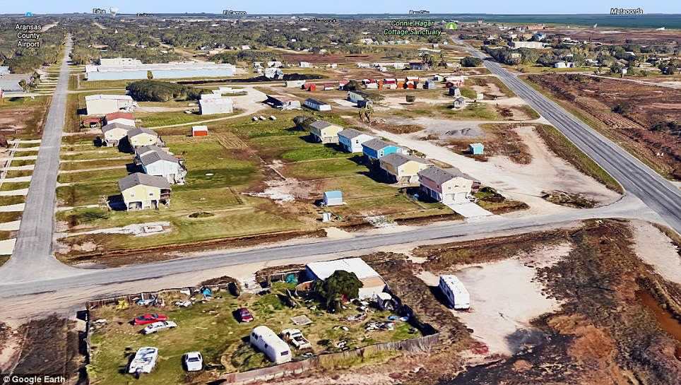 Aerial footage shows the floods in Rockport, Texas, after Hurricane Harvey on Sunday (right) and before (left)
