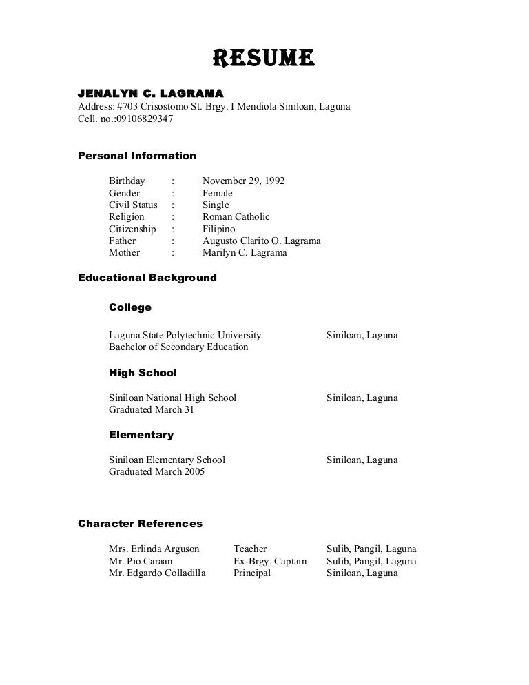 Character Reference Sample In Cv Best Resume Examples