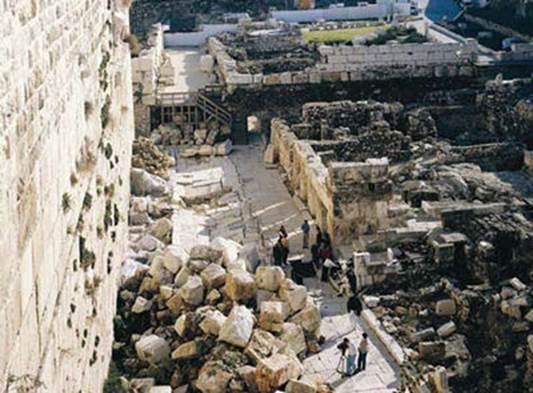 The upper stones of the Western Wall. It is believed that, at the time of the destruction of the Second Temple, they fell to the foot of the southern part of the wall, in the area of the archeological digs. UNESCO rejected the claim that the digs were undermining the Temple Mount. (courtesy of the Western Wall Heritage Foundation)