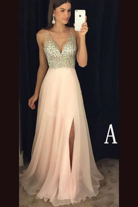 Sexy V Neckline Prom Dress with Side Slit,Formal Dresses