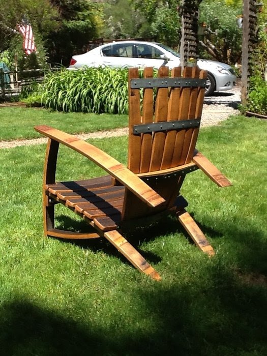 New Finish On Wine Barrel Adirondack Chairs By Winecountrywhimsy