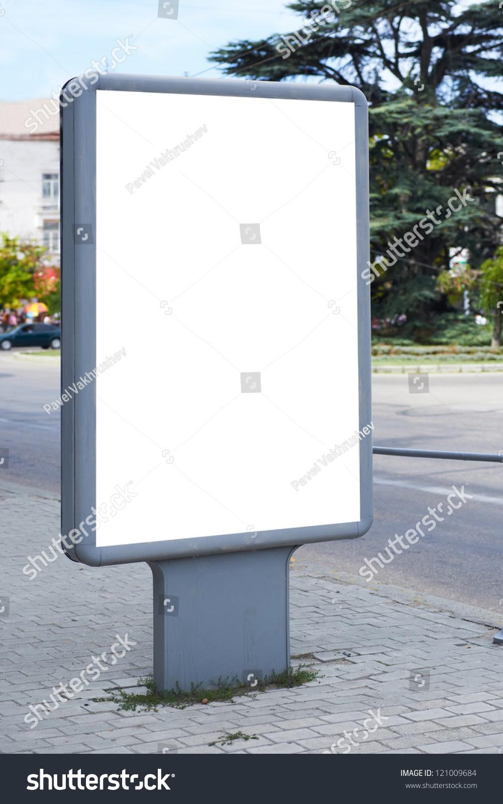 Vertical Blank Billboard On City Street Stock Photo 121009684 ...