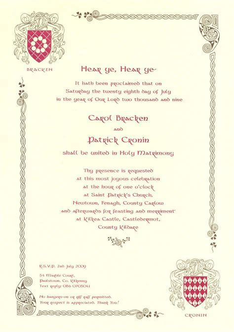 medieval wedding invitations wording   Google Search