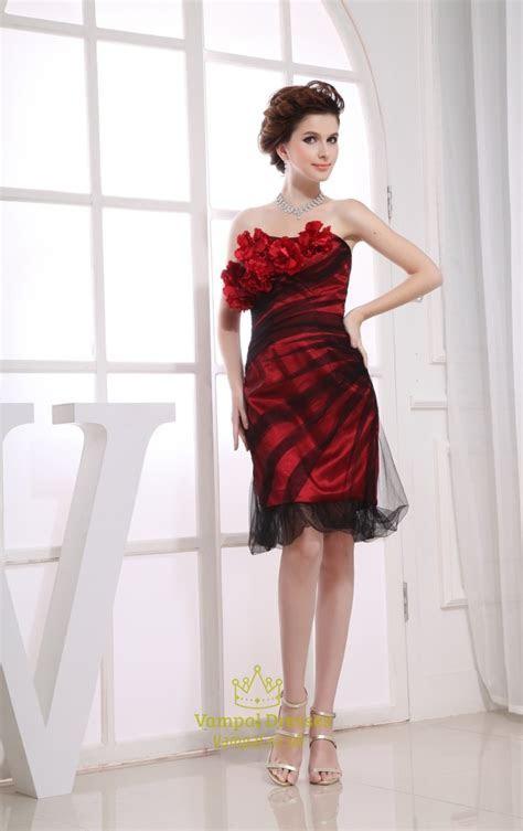 Short Red And Black Cocktail Dress, Short Prom Dresses